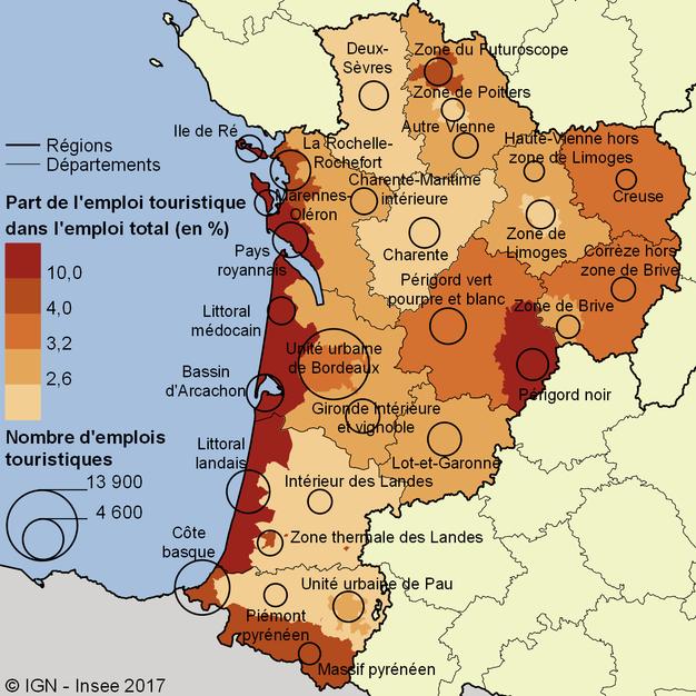 Sur Le Littoral Et Dans Perigord NoirNombre Demplois Touristiques Part Lemploi Total Par Zone Touristique En Nouvelle Aquitaine 2013