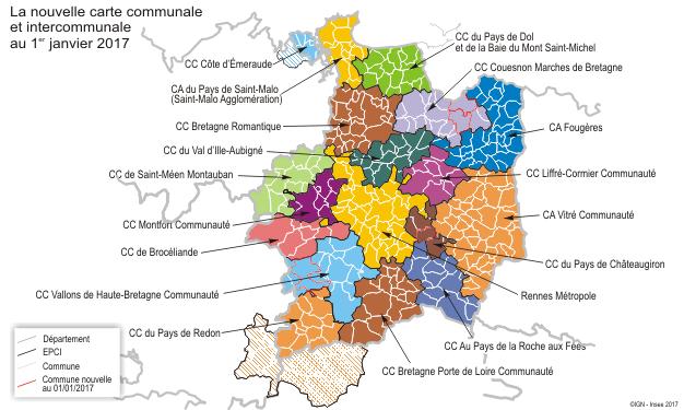 Carte Bretagne Romantique.Ille Et Vilaine En 2017 Une Densification Des Epci Autour