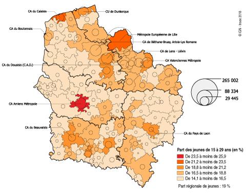 a09b14cbac0 graphique Figure 4 – Une forte concentration dans les métropoles et le sud  de l OiseVolumes et parts de jeunes (en %) dans les EPCI des Hauts-de-France  en ...